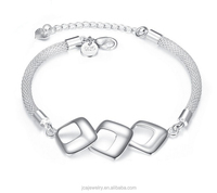 Fashion jewelry square shape 925 silver bracelet for women
