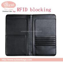 black PU leather RFID blocking travel wallet