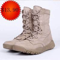Tan Cheap Durable Rubber Sole Light Weight lace up militari boot