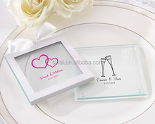 Many Years Experience Factory Price 2014 New Wedding Favors Personalized Glass Coaster