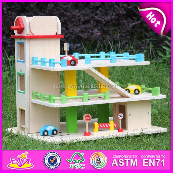 2015 hot item kids wooden parking garage toy children car for A1 car garage