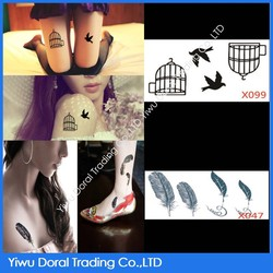Hot sell sexy fly bird and cage tatttoo, temporary feather tattoo sticker