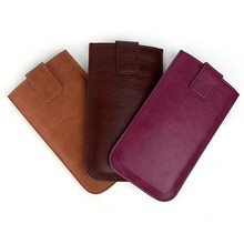 Snap button genuine leather mobile phone pouch