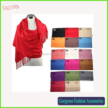 High quality luxury soft touch Winter solid color pashmina scarf shawl