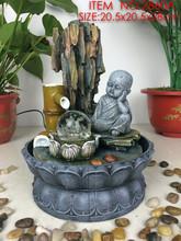 Hindu elephant god of success resin ganesh idols bodhisattva sitting on lotus pool fountain