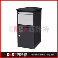 wall mounted or freestanidng safe parcel box with mail letter delivery slot