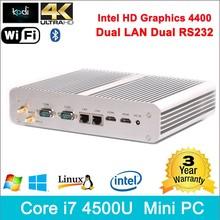 Core i7 intel mini pc con windows intel HD 4400 Graphics 4K HD Mac mini i7 2 LAN 2 Rs232 300m WIFI mini pc com windows