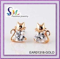 wholesale real gold plated Cat zircon earrings