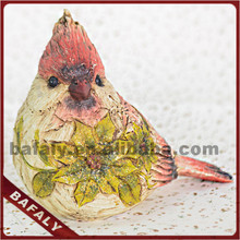 resin sparrow/magpie statue, christmas decoration feather birds, artificial resin bird figurine