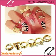 SET Knuckle Heart Bowknot fashion Nail Finger Ring