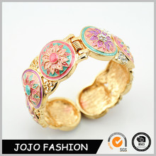 Alloy Enamel Colorful Painting With Little Diamond Gold Plated Women Bangle Bracelet/
