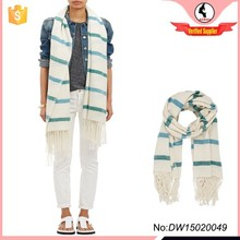 New design cream and green stripe cashmere shawl with tassels edges