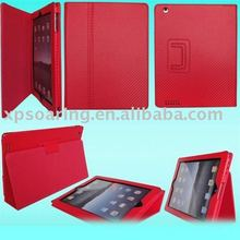 Designed fiber carbon stand flip leather case for ipad 2