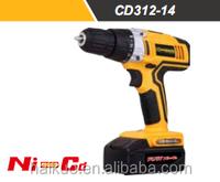 CD312-14.4NI 14.4V 10MM 3/8Inch 14N.M Ni-Cd Cordless Battery Drill With GS UL China Power Tool LED Light