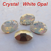 Bling Creative Ellipse Crystal Beads White Opal Oval Crystal Stones Pointback Rhinestones Garment Accessories
