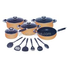 Zhejiang feihong E9seriers 15Pcs aluminum kitchen cookware sets includes soup pot sauce pan and wok pan with non-stick coating