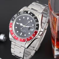 Classic roman numberals calendar figure genuine leather strap stainless steel quamer sport watch price