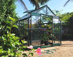 High performance green/gray powder coated glass aluminum garden used greenhouses for sale