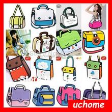 UCHOME Encai New Fashion 3D Cartoon Comic Women's Handbags/2D Shoulder Bag/Stocked Ladies 3D Bag