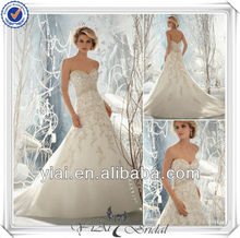 QQ123 New Model Wedding Dress 2014 With A-line Skirt