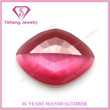 shiny various shape faceted cut flat back rose color cat eye gems for clothes