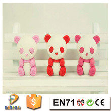 New promotional 3d panda animal shaped eco-friendly TPR eraser