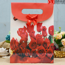 Newest arrival rose pattern portable paper packaging box without handle