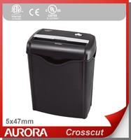 Aurora AS662C Plastic Paper Shredder, 6 sheet(A4) Cross cut 5 x 47 mm,Light Duty Shredding machine for Home & Office
