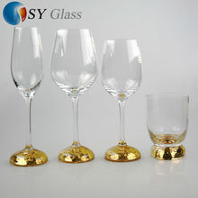 fancy cheap clear gold plated base home decoaration glassware