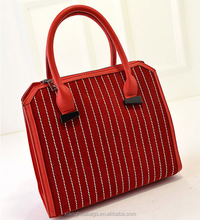 White lines decorative girls handbag, setting high quality