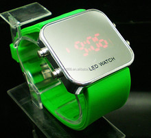 green unisex Sport Style LED Digital Watch Mirror Surface Silicone for Lady Men