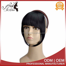 Top synthetic wig hair fringes for sixe girl india, wholesale price headband with bangs