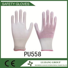 multi purpose PU Gloves work gloves pink color with white strip