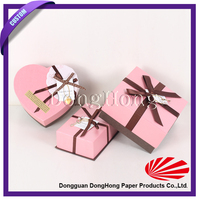 Christmas Decorative Heart Shape Chocolate Packaging Boxes With Ribbon
