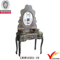 French Classical Shabby Black Handmade Antique Dressers with Mirrors