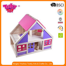 Wooden Doll House Furniture Play Toy House for Kids Girls in ASTM EN71