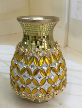 Table antique brass flower floor vase with diamond&glass for decoration&gift