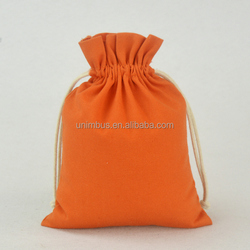 Orange fabric jewelry organza cotton jute bags mini Drawstring pouch for gift