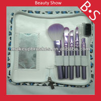 Hot 5 pieces travel makeup brush set with leather pouch and shine mirror