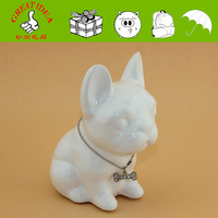 Small ceramic dog coin saving bank with key and lock, best gift for dog lover