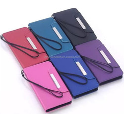 hand strap purse wallet chrome leather for samsung galaxy s6 case