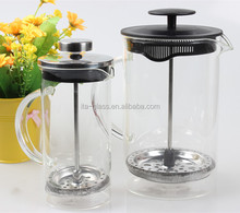 350ml/800ml lead free reusable coffee tea making glass teapot with stainless steel infuser empty french press glass plunger