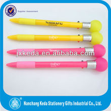 2014 Led light flashing lamp bulb pens with 2 ball refill ink color 2 in 1 pen