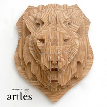 Animal head style Wall Decor, wooden interior decoration