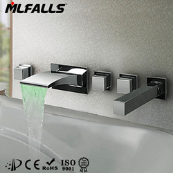 Hot sale new products 5 holes wall mounted led flexible light unique style,chrome waterfall faucet with hand shower