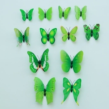 12pcs multi-size green DIY art design animated 3D butterfly wall sticker wedding decor fridge magnet home decoration dress decor