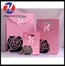 2015 New Arrived pink black rose printing elegant self adhesive decorative paper bag