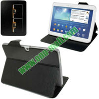 New Arrival Crazy Horse Texture Leather Flip Cover Case for Samsung Galaxy Tab 3 10.1 p5200 with Holder and Wake-up Function