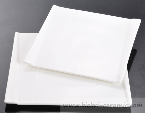9 Inch Super White Fancy Porcelain Square Plates Dishes
