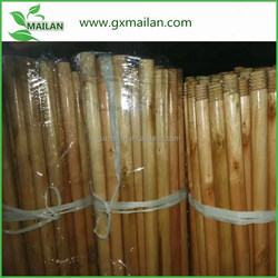 Varnished wood long handles for broom